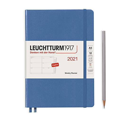 LEUCHTTURM1917 Wochenkalender 2021 Hardcover Medium (A5), 12 Monate, Denim, Englisch