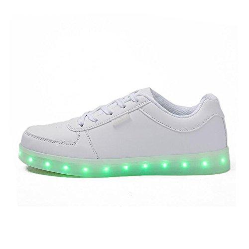 Modischer LED-Schuh für Herren und Damen, wiederaufladbar, mit USB-Licht, Weiß - weiß - Größe: 47 EU