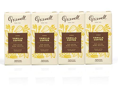Granell Cafes-1940 - Gemahlener Vanille Kaffee Pack| 100 % Arabica Kaffee Vanille - 4 Packungen x 250 g
