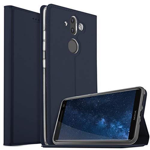 Verco Handyhülle für Nokia 8 Sirocco, Premium Handy Flip Cover für Nokia 8 Sirocco Hülle [integr. Magnet] Book Hülle PU Leder Tasche, Blau