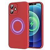 ERS MagSafe Compatible con iPhone 12 Mini (2020) 5.4 Pulgadas, MagSafe Certificación, Carcasa Híbrida de Silicona líquida, Protección de Cuerpo Completo, Rojo