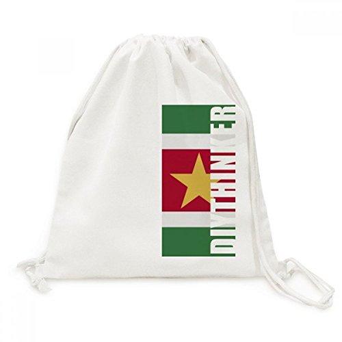 DIYthinker Suriname Nationale Vlag Zuid-Amerika Land Canvas Trekkoord Rugzak Reizen Shopping Tassen