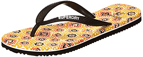Superdry Classic Vintage Flip Flop, Mocasín Mujer, Boho Yellow AOP, Small EU