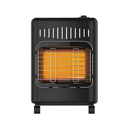 GAXQFEI Calentador de Gas Consumidor Y Comercial Pequeño Estufa de Calefactor de Negro con Rodillo, Protección de Vueda, Completa de Metálico,Gas Licuado