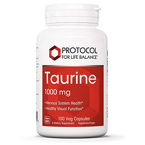 Protocol For Life Balance - Taurine 1,000 mg - Essential Amino Acid That Supports Central Nervous System, Heart Health, Brain Booster, Helps Balance Electrolytes, Retina Support - 100 Veg Capsules