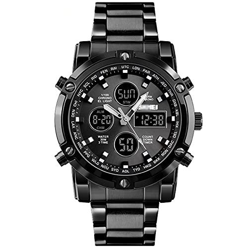 Reloj De Pulsera para Hombres Deporte Cuarzo Digtal 3 Veces Reloj Impermeable Acero Inoxidable LED Luz De Noche Luz De Pulsera De Negocios con Caja Mejor Regalo De Cumpleaños,B