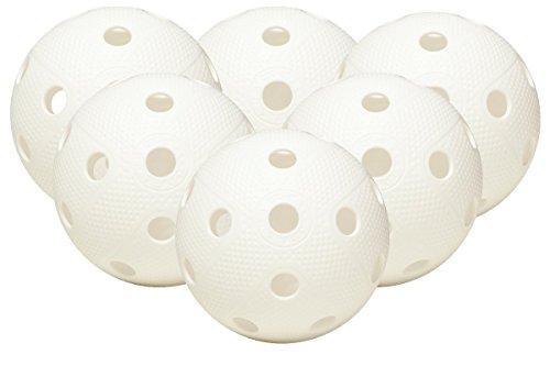 Fat Pipe Floorball & Unihockey Ball 6er Set Farbe: Weiß | Wettkampfball + Trainingsball mit IFF Zertifikat für geprüfte Qualität