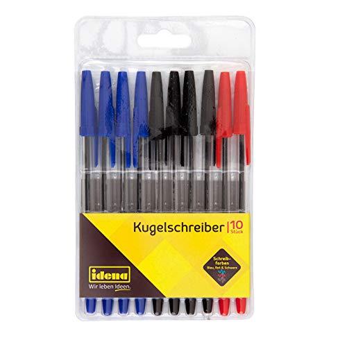 Idena 500234 - Kugelschreiber, 10 Stück, sortierte schreibfarben