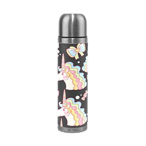 Ffy Go Travel Mug, Licorne Motif imprimé personnalisé Thermos en acier inoxydable LeakProof Thermos isotherme extérieur Cuir pour filles garçons 500 ml