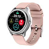 UWINMO Smart Watch for Women, Round Full-Screen Touch Fitness Watch with Heart Rate Blood Pressure SpO2 Monitor for Android & iOS, IP67 Waterproof Activity Tracker with Calorie Counter & Pedometer