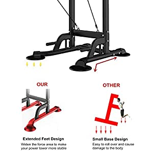 Power Tower Dip Station Pull Up Bar Exercise Tower Adjustable Pull Up Station Pull Up Tower Bar for Home Gym Multi-Function Strength Training Fitness Equipment with Backrest and Armrest 330LBS