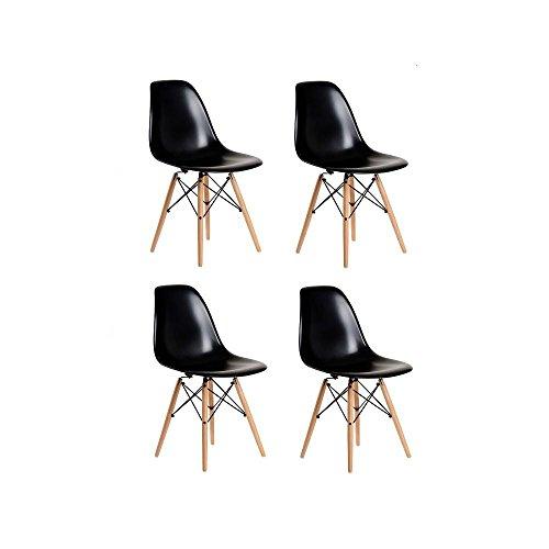 MIRA Set de 4 Sillas Eames Negra