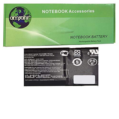 Amsahr 100% compatibel niet-OEM Vervanging Durable Laptop batterij voor Razer RC30-0248, 4ICP4 | 15,4 Volt, 5209 mAh, 4 cellen