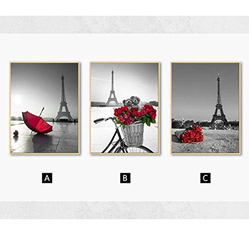 WEDSA canvas schilderij Scandinavische Rode Bloem Rose Paraplu Canvas Schilderij Eiffeltoren Muur Kunst Posters en prints Wandbeeld voor Woonkamer Thuis Decor30x40cmx3 Geen Frame