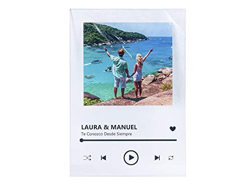 Oedim Placa Metacrilato Música Spotify Personalizado | Fabricado en Metacrilato 4mm | 19,5 x 28,2cm | Efecto Espejo