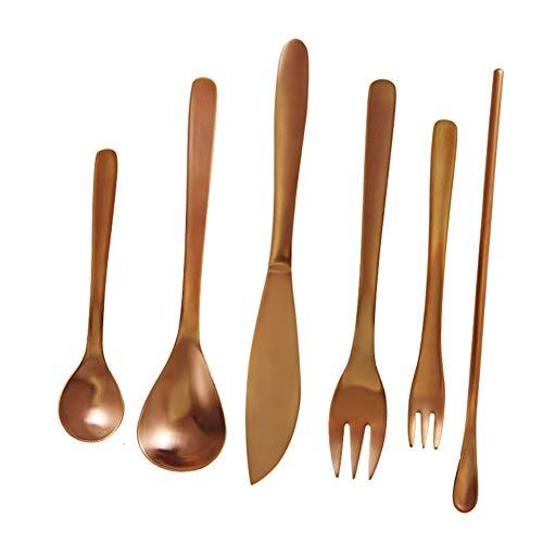 Set de cubiertos 6 piezas Acero inoxidable elegantes Vajilla Cuchillo tenedor cuchara,...