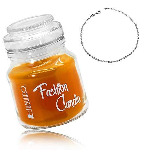tumundo Schmuck-Kerze Fashion Candle Duftkerze Orange Fußkettchen Fuß-Kette Knöchel Fuß-Schmuck Ankerkette Silbern Damen, Variante:Variante 2