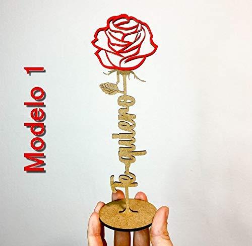 Rosa madera y metacrilato personalizable, Rosa sant Valentín, Sant Jordi, La Bella y la Bestia, Decoración Bodas y celebraciones