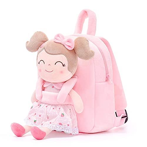 Gloveleya Mochila de niños para niñas mochilas bolsa de felpa con muñeca suave para bebé pequeño fresa 9 pulgadas