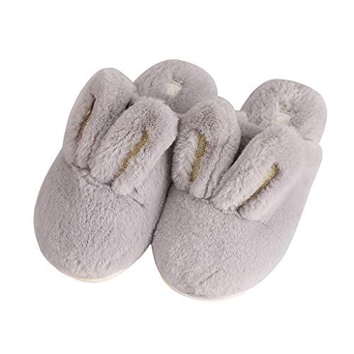 AmyDong – Zapatillas de casa para Mujer con Orejas de Conejo 3D, cálidas y con Forro de Felpa, Gris,…