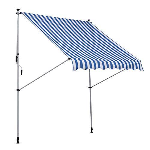Outsunny Markise mit Faltarm, Klemmmarkise, Gelenkarmmarkise, Sonnenmarkise mit Handkurbel, Sonnenschutz, Alu 2x1,5m Blau