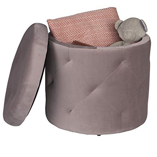 EUGAD Sitzhocker runde Hocker Sitzbank Samt Hocker, Ottomane Aufbewahrungsbox mit Stauraum, ca.27L Sitztruhe Deckel abnehmbar, 39,5x39,5x40cm, Rosa 0045DZ