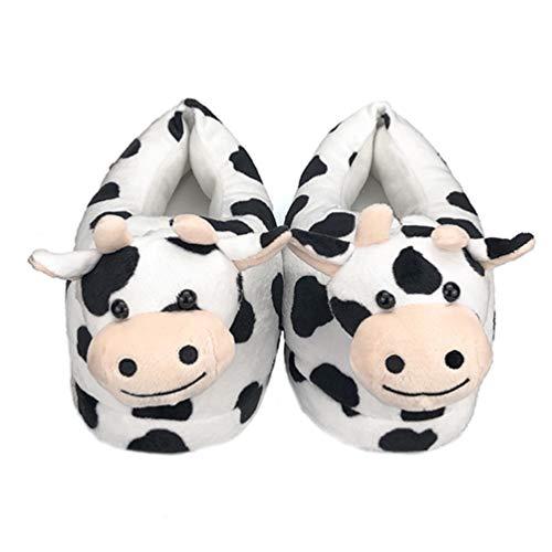 Happyyami Zapatos de Casa Clidos de Felpa Pantuflas de Animales de Vaca Disfraz Antideslizante Pantuflas para El Piso Calcetines para Adultos Patrn Aleatorio