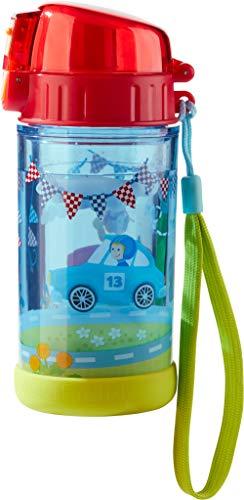 HABA 302845 - Glitzertrinkflasche Flotte Flitzer, Kinder-Trinkflasche für Auto-Fans, für Kindergarten oder Schule, 250ml Flasche, BPA-frei, spülmaschinenfest, auslaufsicher dank Drehverschluss