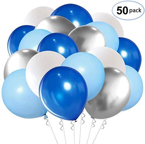 SKYIOL Helium Luftballons Blau Milch Weiß Silber Metall Latex Ballons als Party Feier Dekorationen für Kinder Jungen Geburtstag Hochzeit Baby-Duschen, 50 Stück 30 cm