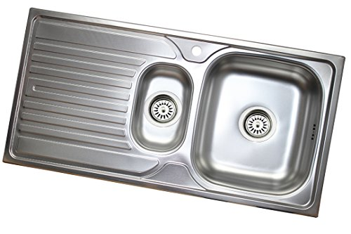 Edelstahl Küchenspüle Edelstahlspüle Einbauspüle Küchen Spüle 1,5 Becken 50x100 mit Abtropffläche Links