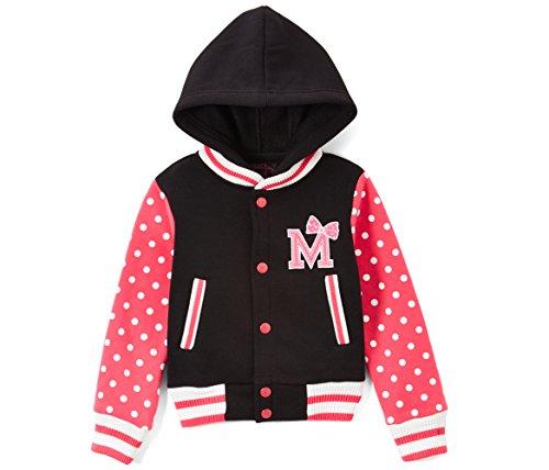 Unik Girl Varsity Jacket with Polka Dot Sleeves (Large (9/10), Pink)