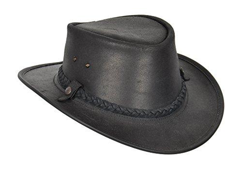 Original Bush Lederhut Authentischer BC Hat Cowboy Outback Stil Steer Verstecken Hergestellt in Australien HLG33 (Schwarz, X-Large)