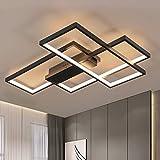 GBLY Lámpara de techo LED regulable moderna lámpara de salón negra 65W lámpara de pared geométrica araña multifuncional con control remoto para sala de estar, dormitorio, oficina, salón y balcón, 65CM
