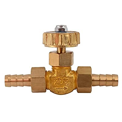 QFDM Precision Valve 8mm/10mm Hose Barb Brass Parallel Needle Valve for Gas Max Pressure 1 Mpa Easy to use (Specification : 10mm) by QFDM