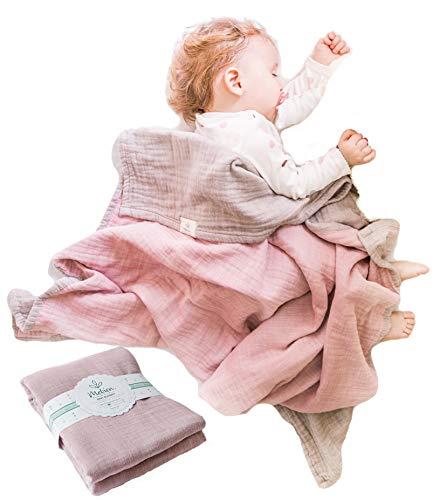 Muslin Baby Blankets for Girls Boys-Mebien Receiving Stroller Crib Nursery Bedding Lightweight Blanket Quilt Swaddle -Infant Toddler Newborn Unisex -Baby Shower Registry Gifts-Cotton Grey&Rose 38x42