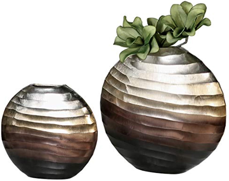 CasaWeißa Vase Sunrise Aluminium L.29 cm Silber Champagner braun BxHxT 29 x 28 x 7