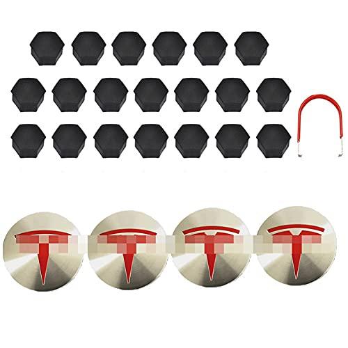GAOJIA Compatible con Tesla aluminio modelo 3 tapas centrales de rueda, tapa de tornillo, kit de logotipo, accesorios decorativos de modificación de tapas de neumáticos (color gris mate)