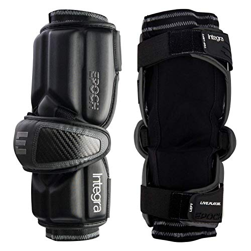 Epoch Integra Lacrosse Arm Guards for Attackmen with Dual Density Foam, Large, Black