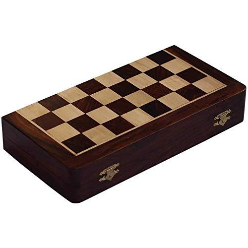 QCSMegy Juego de ajedrez, Juego de ajedrez de 10 x 10 Pulgadas, Juego de ajedrez Plegable magnético, Madera Fina, Torneo clásico Hecho a Mano, Tablero de ajedrez de Palisandro, Inteligencia de