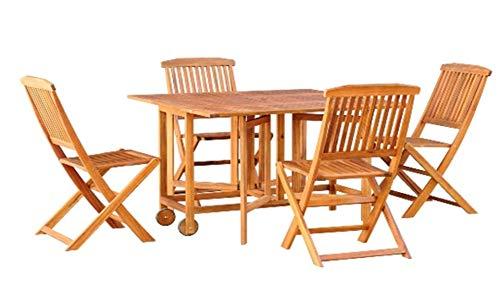 ARTELIA Abakus Sitzgruppe Esstisch-Set aus Holz - Premium Gartenmöbel-Set für Garten, Wintergarten und Balkon, Balkonmöbel, Terrassenmöbel, Natur Eukalyptus