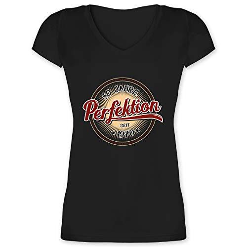 Geburtstag - 50 Jahre Perfektion seit 1970 - XXL - Schwarz - Geschenke für Frauen zum 50 - XO1525 - Damen T-Shirt mit V-Ausschnitt