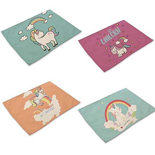 Watooma - Set di 4 tovagliette, antiscivolo, lavabili, in cotone, resistenti al calore, per la casa, il ristorante, il tavolo da pranzo, marrone e argento unicorno