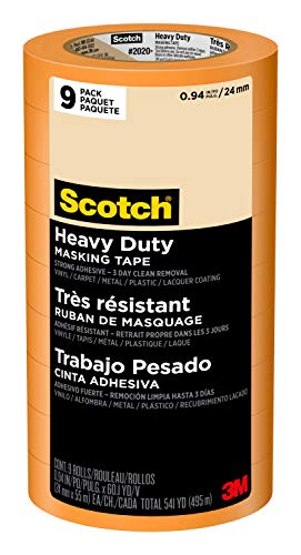 Scotch Masking Tape Heavy Duty, 0.94 inches by 60 yards (540 yards total), 2020+, 9 Rolls
