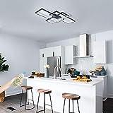 IKK Modern Ceiling Light, Black 3 Rectangular Metal Frame Ceiling Light Fixture, Dimmable Remote Control Flush Mount LED Light, L=41.3 inch for Kitchen, Bedroom, Dress Room, Living Room, Dining Room