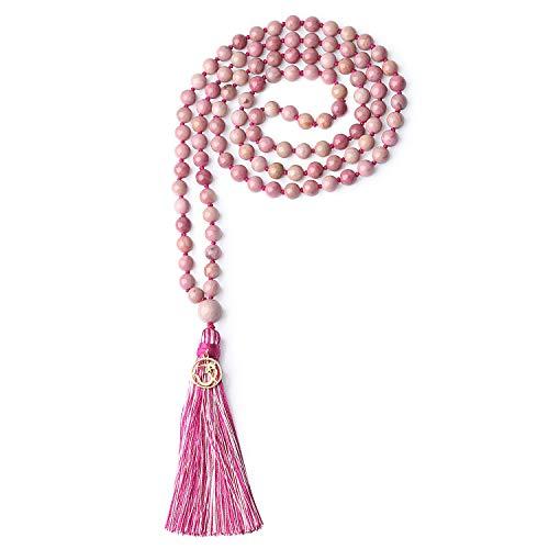 COAI Collana Buddista con 108 Perle Mala in Rodonite Annodate a Mano con Nappa Rosa e Amuleto Om