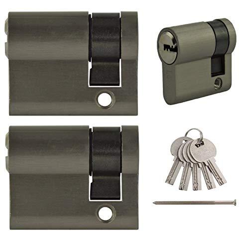 2x Halbzylinder 40 mm gleichschließend 30x10 inkl. 10 Schlüssel