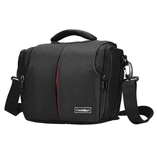 Cwatcun Single Shoulder Compact Camera Bag Case Compatible for Canon Nikon Sony Leica Pentax SLR DSLR Mirrorless Cameras and Lenses Waterproof Black