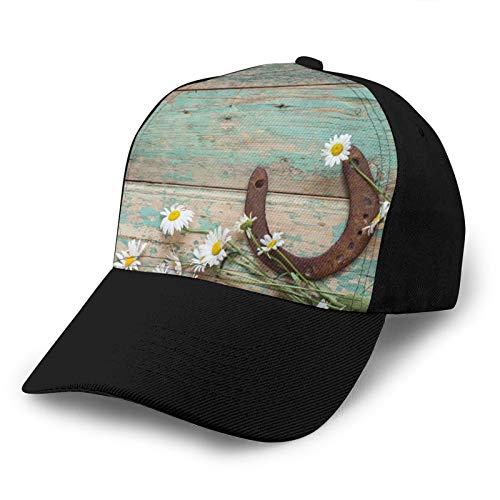 Gorra de béisbol ajustable 3D Trucker Hat Margaritas Rústico Rusty Herradura En Madera Vieja Deportes El Snapback Negro