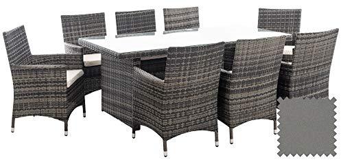 CLP Polyrattan-Sitzgruppe Avignon Big | Garten-Set Mit 8 Sitzplätzen | Komplett-Set: 1x Tisch Und 8 Gartenstühle Mit Sitzkissen, Farbe:grau-meliert, Polsterfarbe:Eisengrau