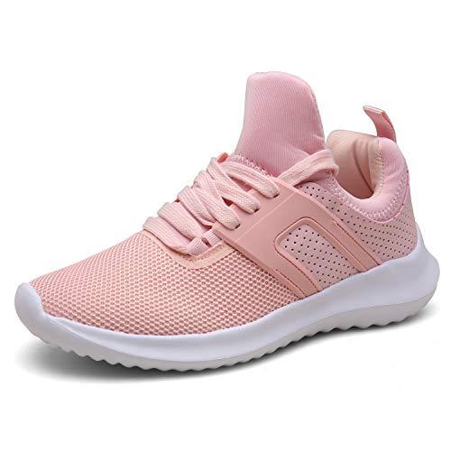 DENGBOSN Turnschuhe Laufschuhe Leichte Sportschuhe Schnürer Fitness Sneaker für Herren Damen XZ666-pink1-EU41